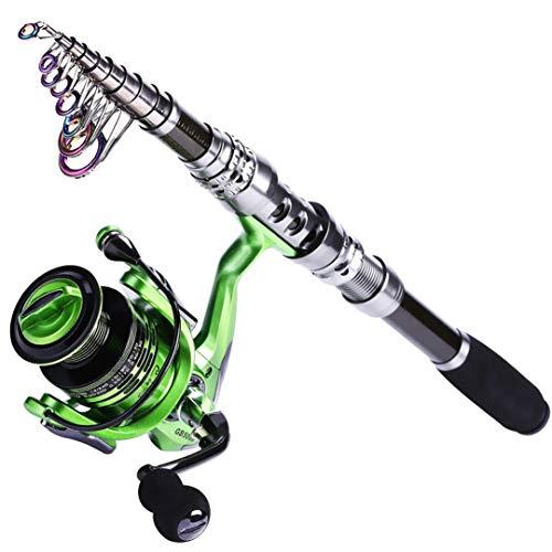 Tanfishes Carbon Telescopic Fishing Rod with 13+1BB Spinning Fishing Reel Combo Fishing Pole Wheel Sets Green 2.4M with GB2000