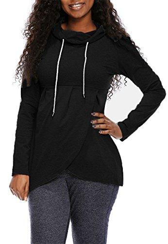 Women's Basic Soft Pullover Funnel Neck Vintage Fleece Asymmetric Hem Wrap Long Sleeve Casual Hoodie Sweatshirt Size XXL Black