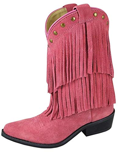Style Equestrian Boot (Smoky Mountain Girls Wisteria Double Fringe Western Boot, Pink - 6 M US Big Kid)