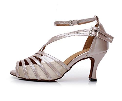 pelle Minitoo per ideali da salsa da sandali liscio 7 QJ6105 Heel modello 5cm ballo balli nbsp;donna e Brown tango in spuntato latini rqwA0rP