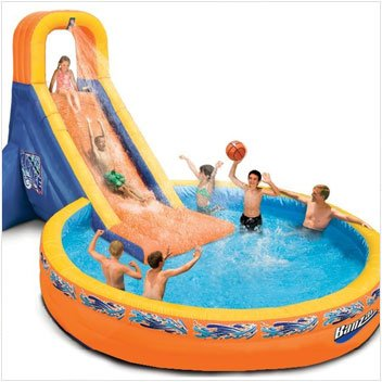 Plunge Pool (Banzai The Plunge Water Slide - Water Toy with Attached 12ft Diameter Pool, Perfect for Summer, Pool Parties - Blower Motor Included - 21.4' L x 12' W x 9.5' H)