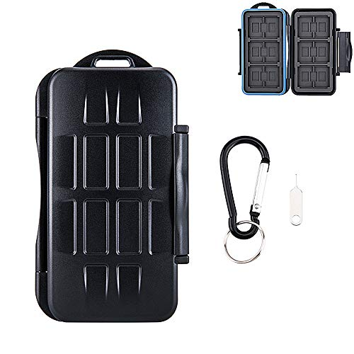 36 Slots Water-Resistant Memory Card Case SD MSD Card Holder Storage for 6 CF + 12 SD + 18 Micro SD Cards, with Carabiner + Card Tray Removal Eject Pin Key / Color: Black body + Blue Seal Ring