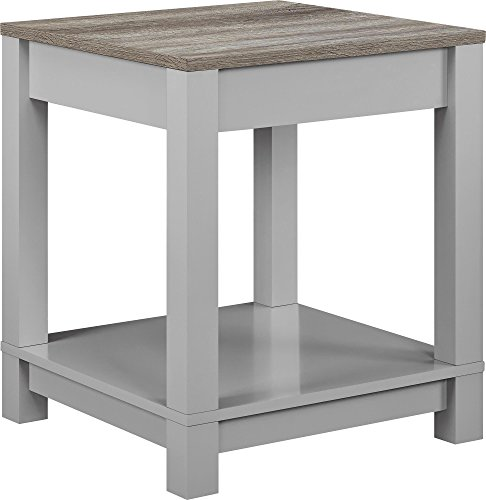 Distressed Finish Sofa Table - Ameriwood Home  Carver End Table, Gray/Sonoma Oak