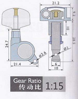 3 sx e 3 dx Meccanica per chitarra acustica//elettrica 6 pz Alice