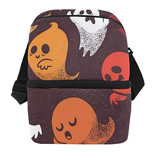 Lovexue Lunch Bag Halloween Set Spooky Ghosts Insulated Cooler Bag Womens Leakproof Grocery Storage Zipper Tote Bags for Hiking]()