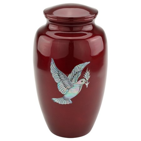 Silverlight Urns Dove Cremation Urn for Ashes, Red Aluminum Urn with Bird Design, Adult Sized Funeral Urn, 10 Inches (Dove Urn)