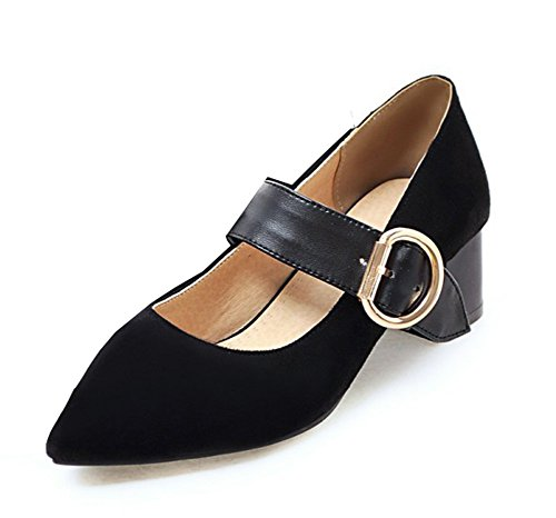 Tacón De Aguja De La Moda De Las Mujeres De La Manera De La Hebilla Del Vestido De Punta Estrecha Zapatos De Tacón Grueso Bombas Zapatos Negro