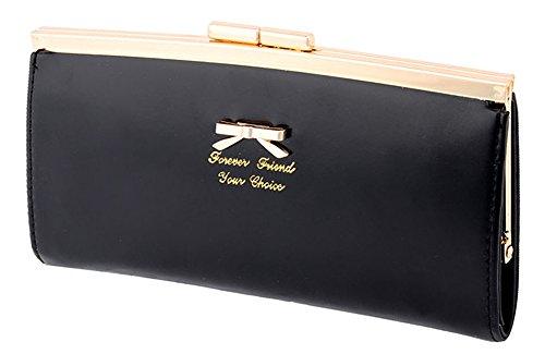 Women Bowknot Long Purse Button Wallet Clutch Hand Bag (Green) - 1