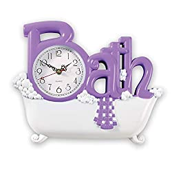 Collections Etc Bathroom Wall Clock, Lavender