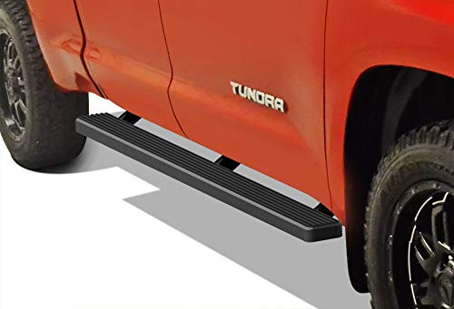 APS iBoard (Black Powder Coated 4 inches) Running Boards Nerf Bars Side Steps Step Rails Compatible with 2007-2019 Toyota Tundra Double Cab Pickup 4-Door ()