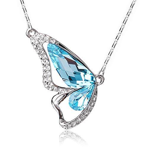 (Valentine's Day Butterfly Necklace with Swarovski Crystal Pendants Gift for Women Girl Wife Girlfriend Jewelry (Butterfly Aqua Blue))