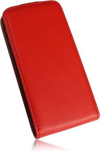 Für Apple Iphone 5C Ultra Dünn Tasche Flip Case Premium PU Leder Vertikaltasche Handytasche Flip Style Schutzhülle mit integrierten DisplaySchutz in Slim Design in Rot