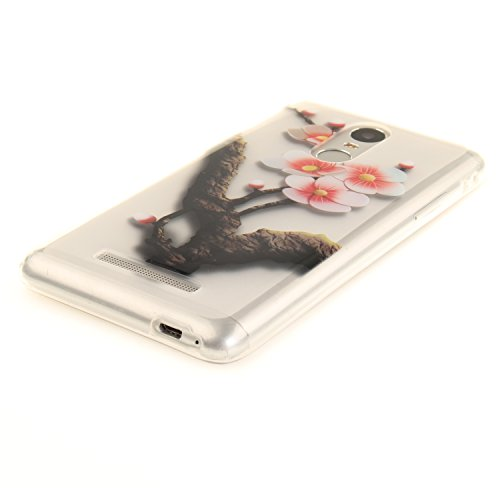 Funda Xiaomi Redmi Note 3, E-Lush Suave Silicona TPU Carcasa Ultra Delgado Clear Flexible Gel Parachoques Goma Mate Transparente Case Cover Flor del impresión Bumper Premium y Creativo Carcasa Trasera Ciruela