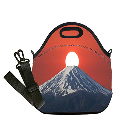 Lunch Box Insulation Lunch Bag Large Cooling Tote Bag Neoprene Insulated Lunch Tote Bag Sunset fall down behind Mt Fuji of volcano in Japan Student Company School, Multicolor, Adults and - Volcano Fuji Japan Mt
