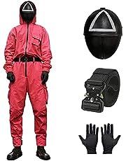 Squid Game Jumpsuit Kostuum, Unisex Squid Man kostuum Set, Squid Masked Man Cosplay Pak, Suit+ Riem+ Handschoenen+ Mask