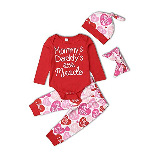 - Baby Girls My First Valentine's Day Clothes Newborn Red Long Sleeve Heart Print Pants Outfit Set with Headband (Mommy Daddy's Little Miracle' Outfit, 3-6 Months)