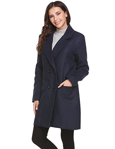 HOTOUCH Women Winter Outdoor Wool Blended Classic Pea Coat Jacket Navy Blue M