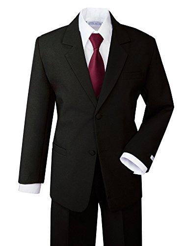 Boys Formal Dress - Spring Notion Boys' Formal Dress Suit Set 16 Black Suit Burgundy Tie