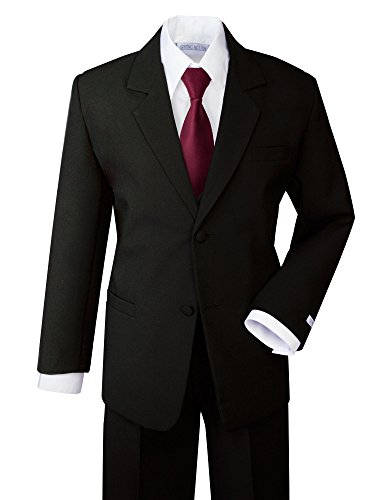 Spring Notion Boys' Formal Dress Suit Set 7 Black Suit Burgundy Tie
