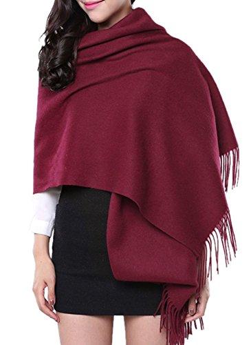 e per sciarpa frangia inverno bordeaux 180 70cm autunno unisex rosso con Scialle wI6nYHx6