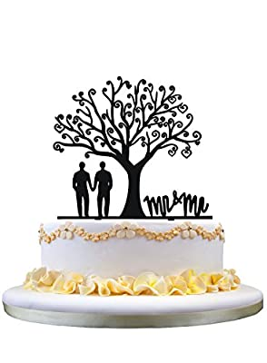 Gay wedding cake topper,Mr & Mr cake topper for groom gifts,tree acrylic cake topper