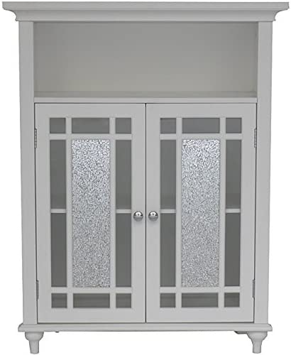 Elegant Home Fashions Jezzebel Weathered Wood Finish Mdf glass Constuction with Silver Mosaic and Clear Glass Double Door Floor Cabinet