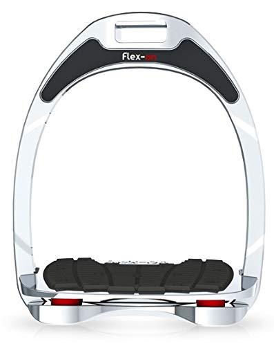 【 限定】フレクソン(Flex-On) 鐙 アルミニウムレンジ Flat grip フレームカラー:シルバー エラストマー:レッド 82736   B07KMP58TP
