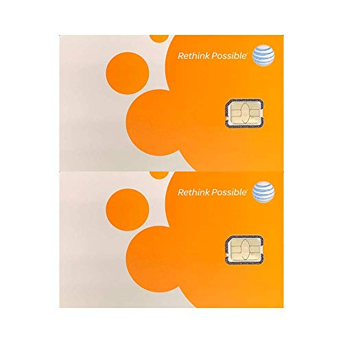 (2 Pack) Authentic AT&T ATT SIM Card Nano GSM 4G/3G/2G LTE Prepaid/Postpaid Starter Kit Unactivated Talk Text Data & Hotspot (2 For Ipad Card Sim)