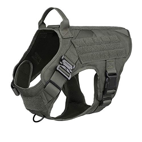 ICEFANG Working Dog Harness,Military Tactical K9 Service Vest with MOLLE,No Pulling Front Leash Clip (XL 32-39,RG-Metal Buckle)
