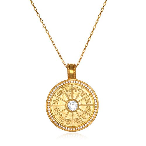 - Satya Jewelry Women's White Topaz Gold Zodiac Pendant Necklace (32-Inch), One Size