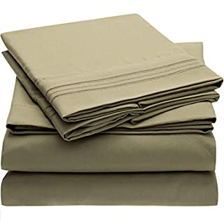 Mellanni Bed Sheet Set - Brushed Microfiber 1800 Bedding - Wrinkle, Fade, Stain Resistant - Hypoallergenic - 4 Piece (King, Olive Green) (B00NQDGGDS) | Amazon price tracker / tracking, Amazon price history charts, Amazon price watches, Amazon price drop alerts