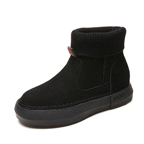 ZHZNVX hsxz Damenschuhe mit Winter Nubuk Leder Winter mit Stiefel Stiefel Flache Ferse Round Toe Stiefel für Freizeit Khaki braun, Schwarz 363970