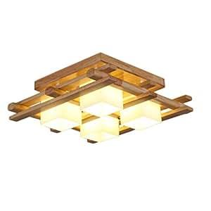 4 Head Solid Wood Ceiling Lights, Japanese Style Living Room Lighting Decorative Lights, E27 Bedroom Restaurant Lights, L56 W56 H20cm