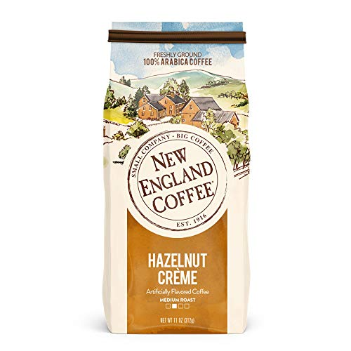 New England Coffee Hazelnut Creme, Medium Roast Ground Coffee, 11 Ounce -