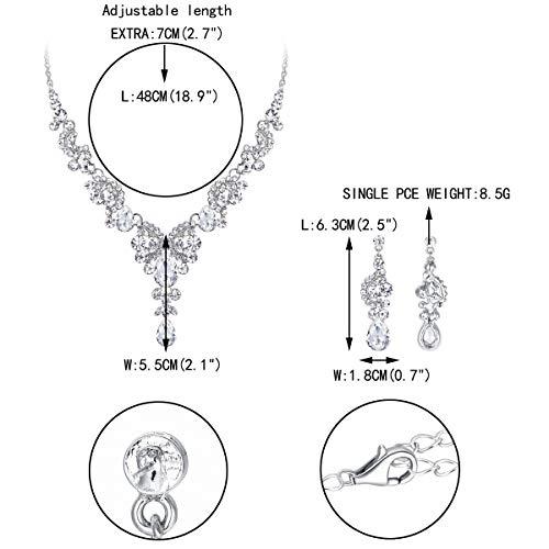 EVER FAITH Austrian Crystal Bridal Floral Wave Teardrop Necklace Earrings Set 4