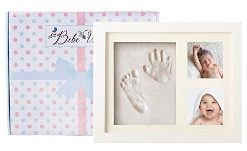 (Bebe Vibes Baby Handprint and Footprint Kit, Newborn Boy and Girl DIY Photo Frame Keepsake Set, Unique Personalized Shower Registry or Baptism Gift with Box, Nursery and Children's Room Wall Decor)