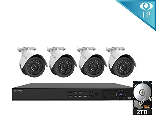 LaView 4 1080P IP Camera Security System, 8 CH 1080P IP PoE NVR w/2TB HDD and 4 2MP Bullet Surveillance Camera by LaView