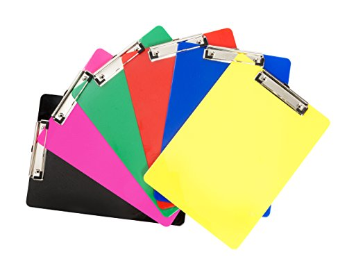 6 Pack Assorted Solid Color Plastic Clipboards, Low Profile Clip, Clipboards for classrooms, offices, restaurants, doctor offices, 6 Plastic Clipboard Pack by Blue Summit Supplies