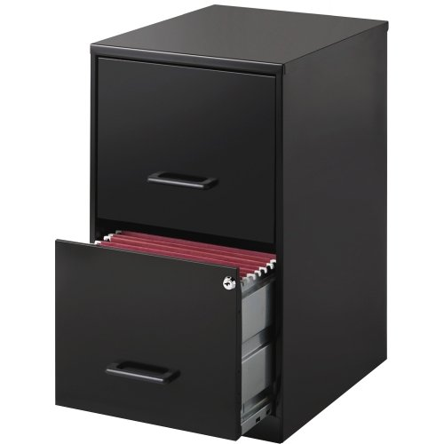 black 2 drawer file cabinet - 1