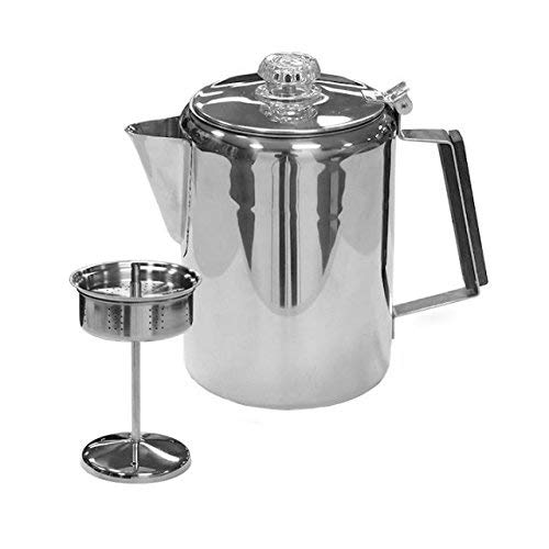 Stansport Stainless Steel Percolator Coffee Pot – 9 Cup