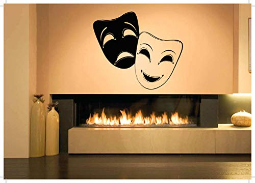 Vinyl Sticker Theater Masks Comedy Tragedy Drama Broadway Halloween Musical Performance Mural Decal Wall Art Decor SA1907]()