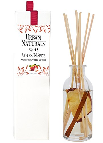 Urban Naturals Apple Cinnamon Aromatherapy Reed Diffuser by Apples n Spice No. 42 | Juicy Apple, Cinnamon, Nutmeg Clove & Vanilla Diffusing Reed Sticks | Great Gift Idea