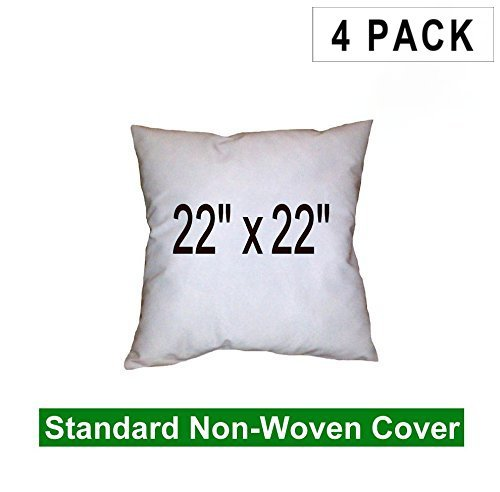 (4 Pack) Pillow Inserts 22 x 22 Square -100% polyester fibre filled Hometex