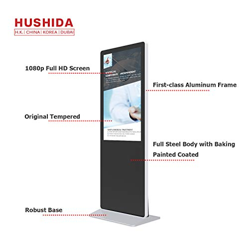 (HUSHIDA 42-inch LCD Plane Digital Signage 1080p,Floor Standing Commercial 4k Full HD Display with 10-Point Infrared Touch Screen for Information Query and Display)