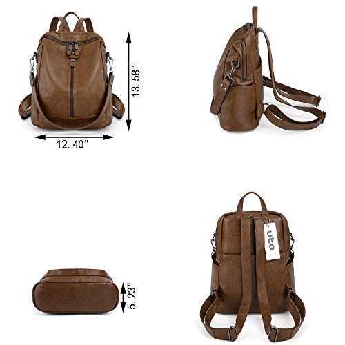 UTO Women Backpack Purse PU Washed Leather Convertible Ladies Rucksack Zipper Pockets Earphone Hole Shoulder Bag Brown by UTO (Image #6)