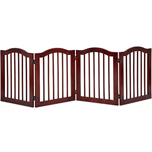 Cat Enclosure System - Giantex Wood Dog Gate Pet Fence Barrier Configurable Folding Freestanding Doorway Fence Doggie Puppy Fencing Enclosure System Indoor Safety Gate for Dogs (4 Panel, 24