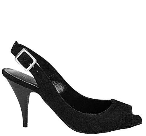 negro Apart mujer cuero negro Zapatos para 39 de de vestir 0OTr0Uq