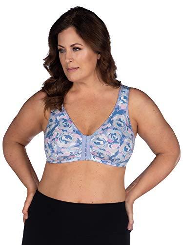 (Leading Lady Women's Plus Size Sleep Leisure Cotton Bra, Blue Lavender Rose, 34FGH)