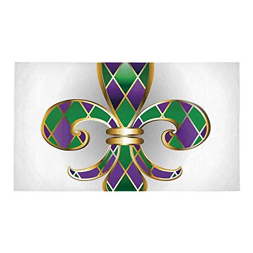 C COABALLA Fleur De Lis Decor Rectangular Bath Rug,Gold Colored Lily Symbol with Diamond Shapes Royalty Theme Ancient Art for Bathroom,28