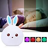 KathShop Cute Rabbit Multicolor Silicone Baby Nursery Lamp Touch Sensor Tap Control USB Rechargeable s Toy LED Table Night Bunny Light